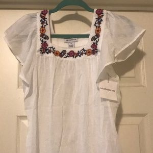 Liz Claiborne White Embroidered Flowers Top-M